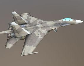 Aircraft SU-27 brown khaki 3D model low-poly