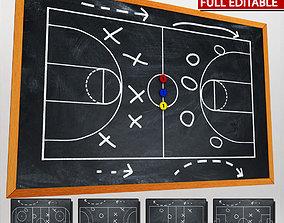 3D model Sport chalkboard tactical low poly