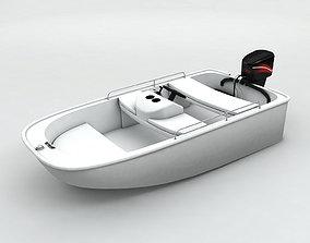 Fishing Motor Boat Dinghy 3D asset