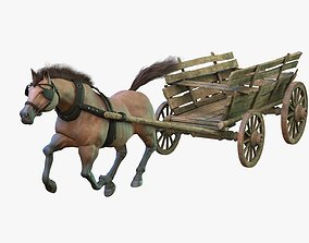 Dray with Horse Rigged 3D asset