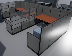Office cubicle set 3D model