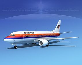 3D Boeing 737-300 United Airlines 2
