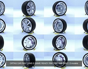 3D ORTAS CAR RIM 1 AND 2 GAME READY RIM TIRE AND DISC