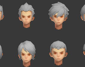 men hair hair style short hair face head barber 3D asset