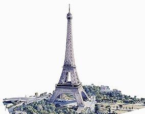 Eiffel Tower 3D model VR / AR ready
