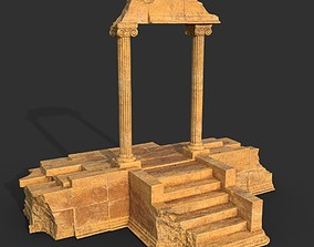 3D asset Low poly Ancient Roman Ruin Construction 06 -
