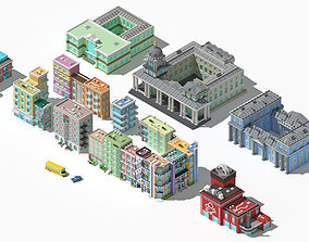 Collection of low poly buildings volume 1 3D asset