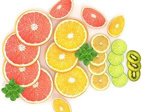 3D asset Citrus Slice Collection Realistic