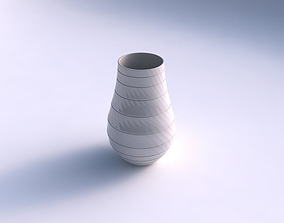 Vase twisted with hard horizontal dents 3D print model