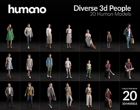 Humano 20-Collection - DIVERSE PEOPLE - 20x 3D models