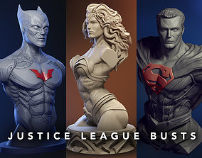 3D Justice League Busts - Wonder woman - Batman -