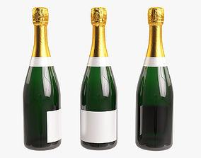 Champagne bottle realistic 3D model