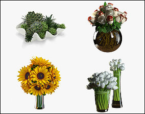 Flowers collection 01 3D