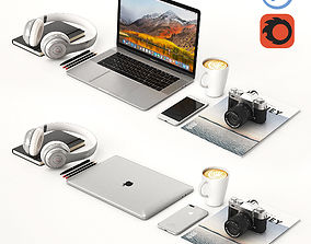3D model Workplace Silver MacBook