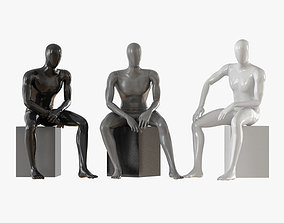 Three seated faceless mannequins 13 3D model