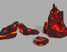 3D asset low-poly Rock set