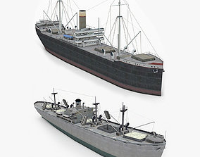Two Old Ships 3D asset