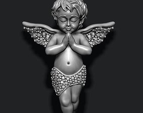 baby angel pendant with gems 3D printable model