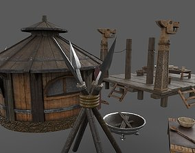game-ready Historic Viking house with courtyard PBR 2