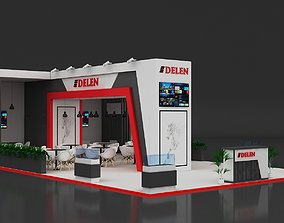 Exhibition Stand 14x8m Height 400 cm - 3 Side 3D model