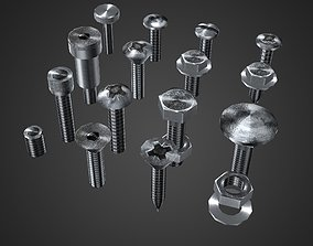 3D asset Hardware Pack- nuts and bolts