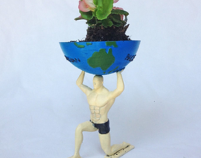 Man Holding World Pot Plant 3D printable model