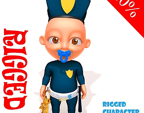 3D Policeman baby Cartoon Rigged handcuff
