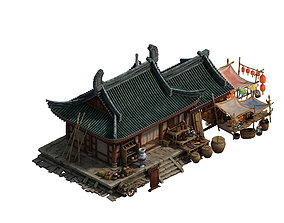 Game model - city - small grocery store 3D