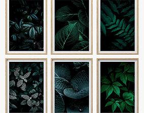 3D model JUNIQE Dark leaves poster