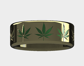 Weed Leaf Ring Pot marijuana 3D printable model