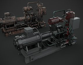 Machinery device motor turbine 3D model PBR