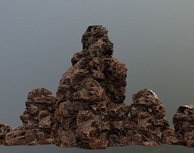 cliff forest 3D model low-poly rocks