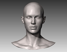 3D model Realistic White Female Head