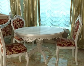 3D model Baroque Style Table and Chairs