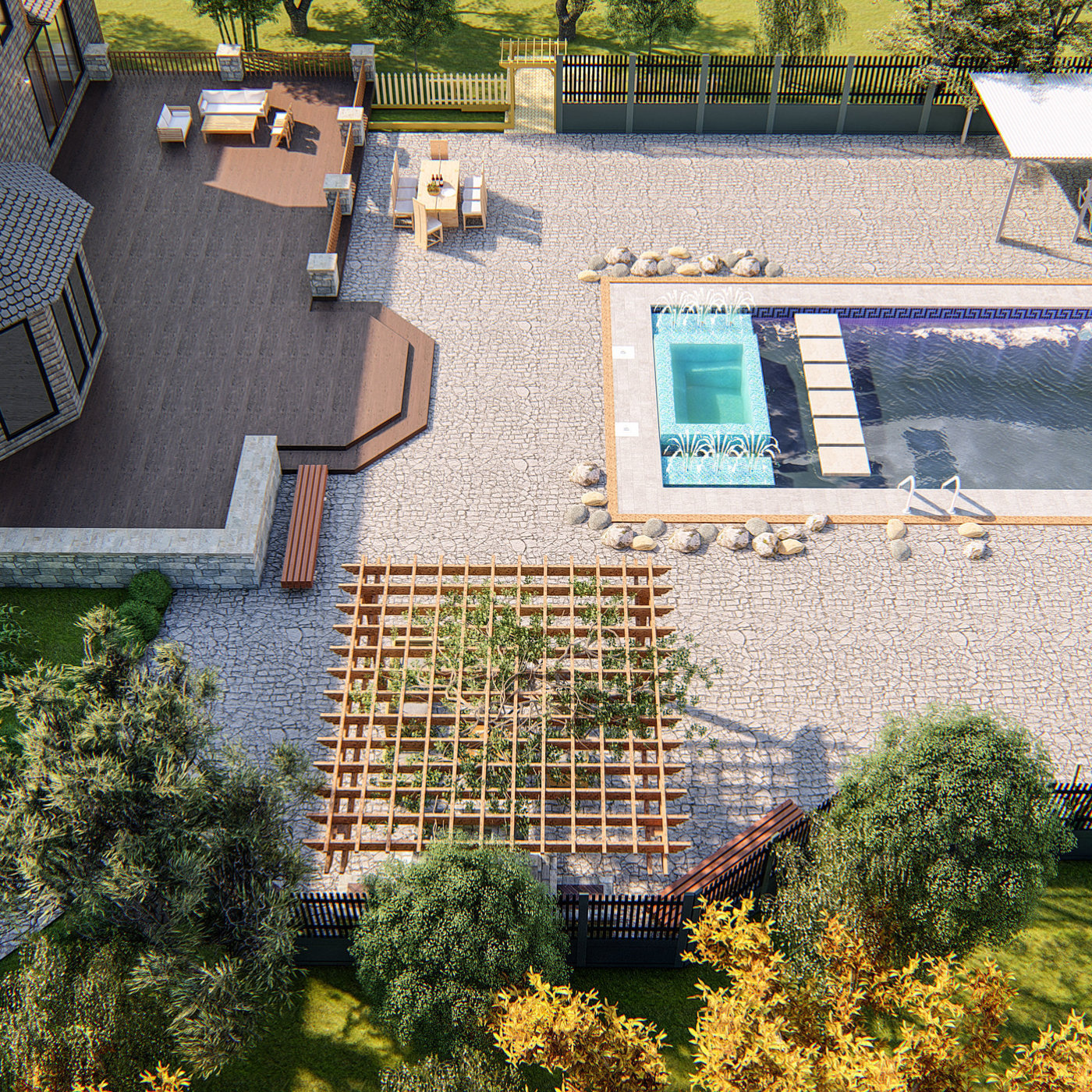 BACKYARD LANDSACPE WITH SWIMMING POOL DESIGN AND RENDER IN LUMION 8.5 PRO