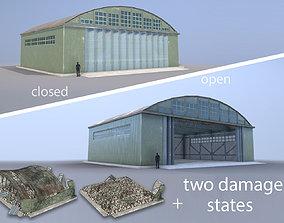 Airport Hangar SmallHangar 01 closed open with 3D asset