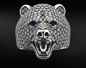 Stylish bear ring with diamonds 524 3D printable model