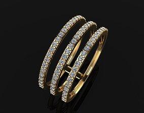 3D printable model TRIPLE DIAMOND ROW BAND RING SIZE 9