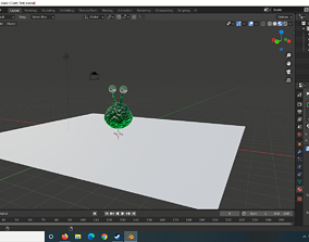 3D model animated Slime jumping squishy alien