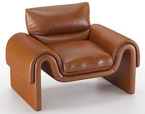 Vintage De Sede Leather Armchair 3D
