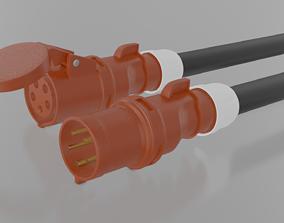 PC Electric Euro Plug Shark 5 Pin 3D
