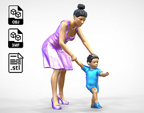 3D print model A Woman takes Care of a Child Miniature