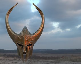 Fantasy Helmet Horned 3D