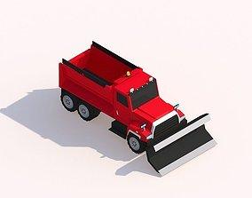 Cartoon Low Poly Snow Truck 3D asset