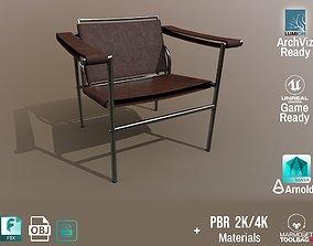 Chair Thonet Le Corbusier PBR - Dark Leather - 3D model 2