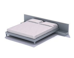Classic White Double Bed 3D