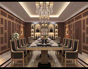 Restaurant diningroom classical 3D model