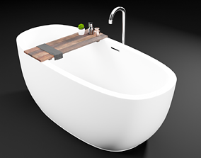 Bathtub with wood plank 3D model