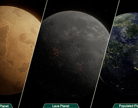 Planets PBR 3D model Game Ready VR / AR ready