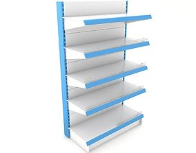 Supermarket Single Shelf Module 3D model